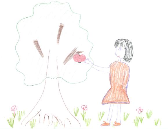 человек срывающий яблоко